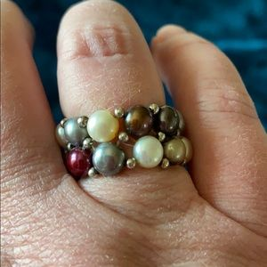 Jewelry - Multicolor pearl & silver stretch ring